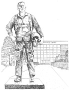 Library Drawings - Lt. Richey Fairchild by Barney Hedrick