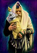 Jewish Paintings - Lubavitcher Rebbe with torah by Sam Shacked