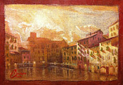 Tuscany Vineyard Oil Paintings - Lucca at Sunset by Christopher Clark
