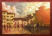 Tuscany Vineyard Oil Paintings - Lucca at Sunset II by Christopher Clark