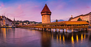 Lucerne Posters - Lucerne - Chapel Bridge Pastels Poster by John and Tina Reid