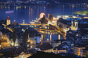 Lucerne Photo Posters - Lucerne at Night from Above Poster by George Oze