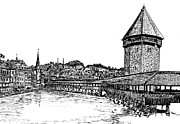 Swiss Drawings - Lucerne by Frank SantAgata