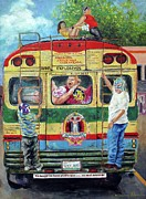 Mexican Folklore Paintings - Lucha Bus by Nancy Almazan