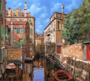 Canal Framed Prints - Luci A Venezia Framed Print by Guido Borelli