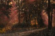 Dark Painting Posters - Luci Nel Bosco Poster by Guido Borelli