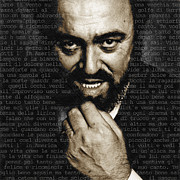 Celebrity Mixed Media - Luciano Pavarotti by Tony Rubino