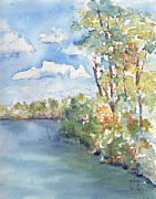 Sienna Paintings - Lucien Lake Shoreline by Pat Katz