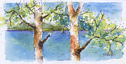 Lake Scene Paintings - Lucien Poplars by Pat Katz