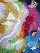 Felted Tapestries - Textiles Prints - Lucifer and Ahriman at the birth of Christ Print by Nicole Besack