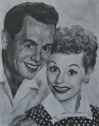 Actresses Drawings Framed Prints - Lucille Ball and Desi Arnaz Framed Print by Jessica Hallberg