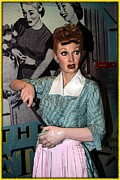 Lucille Ball Prints - Lucille Ball Cartoon Print by Sophie Vigneault