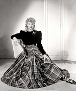 Plaid Skirt Framed Prints - Lucille Ball In A Portrait, 1940s Framed Print by Everett