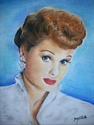 Stars Pastels Posters - Lucille Ball Poster by Jerry Padilla