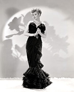Sweetheart Neckline Prints - Lucille Ball Models A Lovely Black Print by Everett