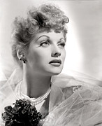 Pearl Necklace Framed Prints - Lucille Ball Portrait With Gauze, 1940s Framed Print by Everett