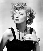 Black Dress Metal Prints - Lucille Ball Publicity Shot, 1940s Metal Print by Everett