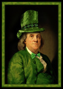 Franklin Mixed Media Metal Prints - Lucky Ben Franklin in Green Metal Print by Gravityx Designs