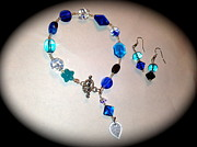 Blue Jewelry Originals - Lucky blue bracelet and  earringa by Pretchill Smith