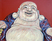 Laughing Posters - Lucky Buddha Poster by Tom Roderick