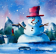 Snow Scene Mixed Media Prints - Lucky Catch Print by Ray Swaluk