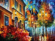 City Flowers Paintings - Lucky Night by Leonid Afremov