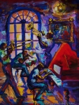 Playing Music Painting Originals - Lucky Pierres Pleasure New Orleans by Saundra Bolen Samuel