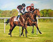 Jockey Paintings - Lucky seven by Jana Goode