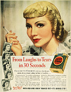 Luckys Framed Prints - Luckys Cigarette Ad, 1938 Framed Print by Granger