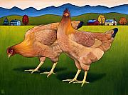 Hen Paintings - Lucy and Ethel by Stacey Neumiller