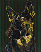 Pet Portraits Paintings - Lucy Guards the World by David  Hearn