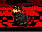 Kitty Digital Art - Lucy Like Woodcut by Nilla Haluska