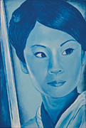 Celebrity Portraits Painting Originals - Lucy liu by Derek Donnelly