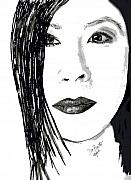 Portraits Drawings Metal Prints - Lucy Liu Metal Print by Donna Proctor
