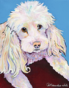 White Poodle Framed Prints - Lucy Framed Print by Pat Saunders-White