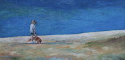 Dog Walking Painting Posters - Lucys Beach Poster by Julie Dalton Gourgues