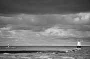 Dark Cloud Prints - Ludington Black and White Print by Sebastian Musial