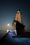 Stars Art - Ludington North Breakwater Lighthouse by Adam Romanowicz