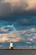 Dark Cloud Prints - Ludington North Breakwater Lighthouse at Sunrise Print by Sebastian Musial