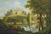 Landscape With Trees Posters - Ludlow Castle with Dinham Weir Poster by Samuel Scott