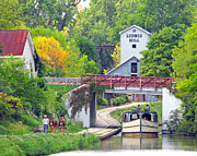 Ludwig Photos - Ludwig Mill and Canal Boat by Jack Schultz