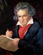Pencil On Canvas Framed Prints - Ludwig van Beethoven Composing his Missa Solemnis Framed Print by Joseph Carl Stieler