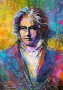 Musical Mixed Media Prints - Ludwig Van Beethoven portrait Musical Pop Art painting print Print by Svetlana Novikova