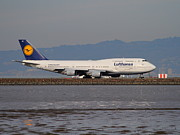 Lufthansa Posters - Lufthansa Jet Airplane At San Francisco International Airport SFO . 7D12353 Poster by Wingsdomain Art and Photography