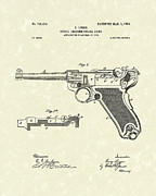 Antique Drawing Posters - Luger Handgun 1904 Patent Art Poster by Prior Art Design