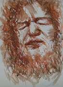 Kelly Drawings Posters - Luke Kelly 2 Poster by Tom ORourke