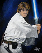 Jedi Painting Posters - Luke Skywalker Poster by Tom Carlton