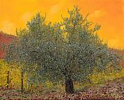 Golden Sky Framed Prints - Lulivo Tra Le Vigne Framed Print by Guido Borelli