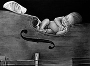 Charcoal Drawings Drawings Framed Prints - Lullaby  Framed Print by Curtis James