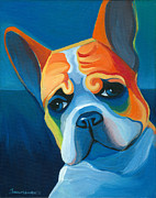 Bulldog Framed Prints - Lulu Framed Print by Mike Lawrence